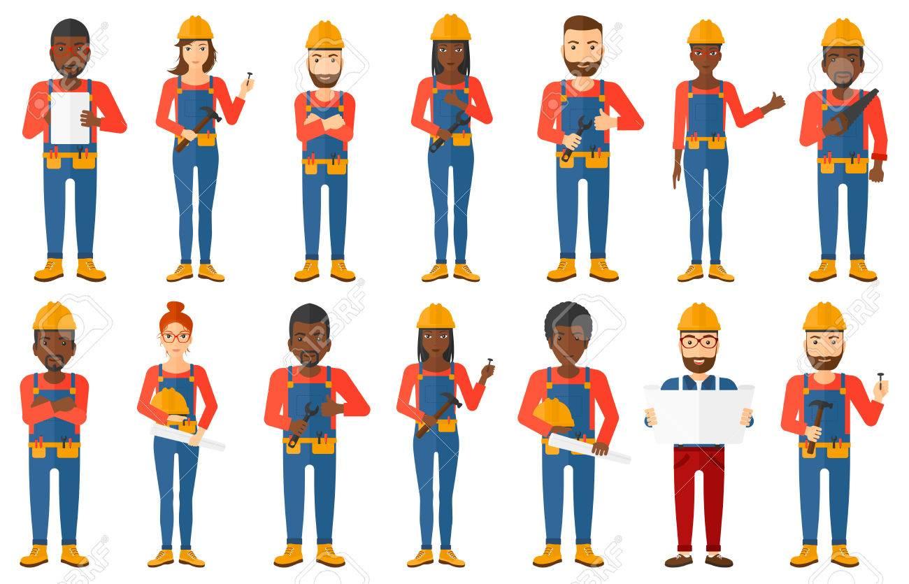 Junge Baumeister Mit Gefalteten Händen. Zuversichtlich Builder Im ...