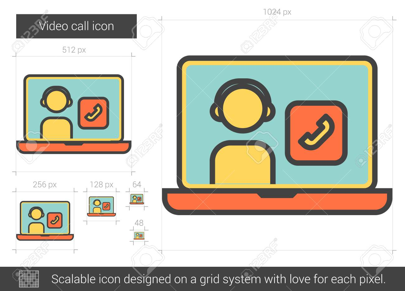 Video Call Vector Line Icon Isolated On White Background Video Royalty Free Cliparts Vectors And Stock Illustration Image 128544410