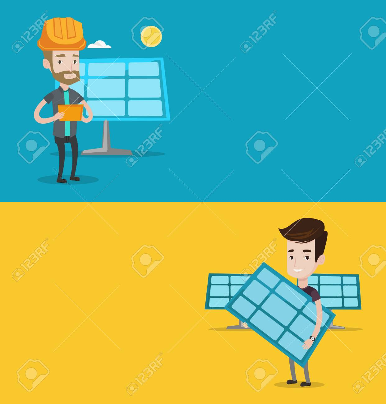 Two Ecology Banners With Space For Text Vector Flat Design Power Plant Layout Horizontal Man Working On Digital Tablet At Solar Panel Standing The Background Of