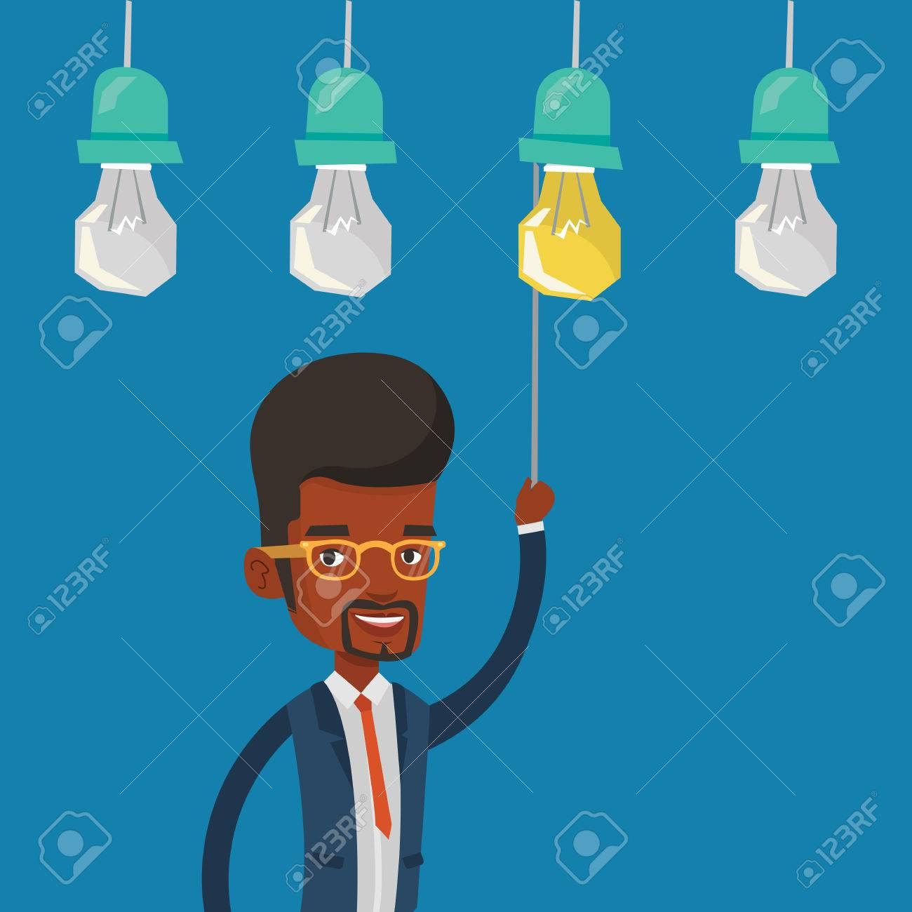 Ein Afroamerikanischer Geschäftsmann Einschalten Idee Glühbirne ...