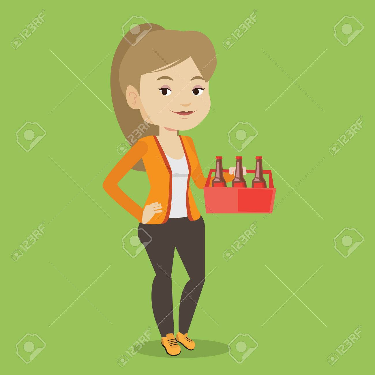 Young Happy Woman Holding Pack Of Beer Full Length Of Cheerful Royalty Free Cliparts Vectors And Stock Illustration Image 67392705