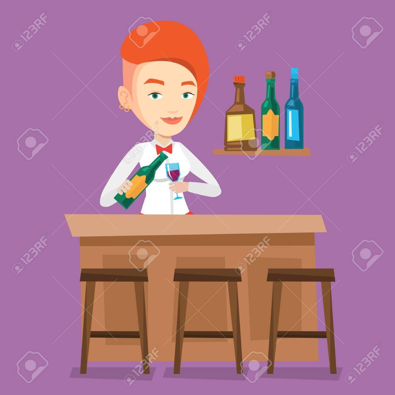 Junge Barkeeper An Der Theke Stehen. Barkeeper Mit Flasche Und Glas ...