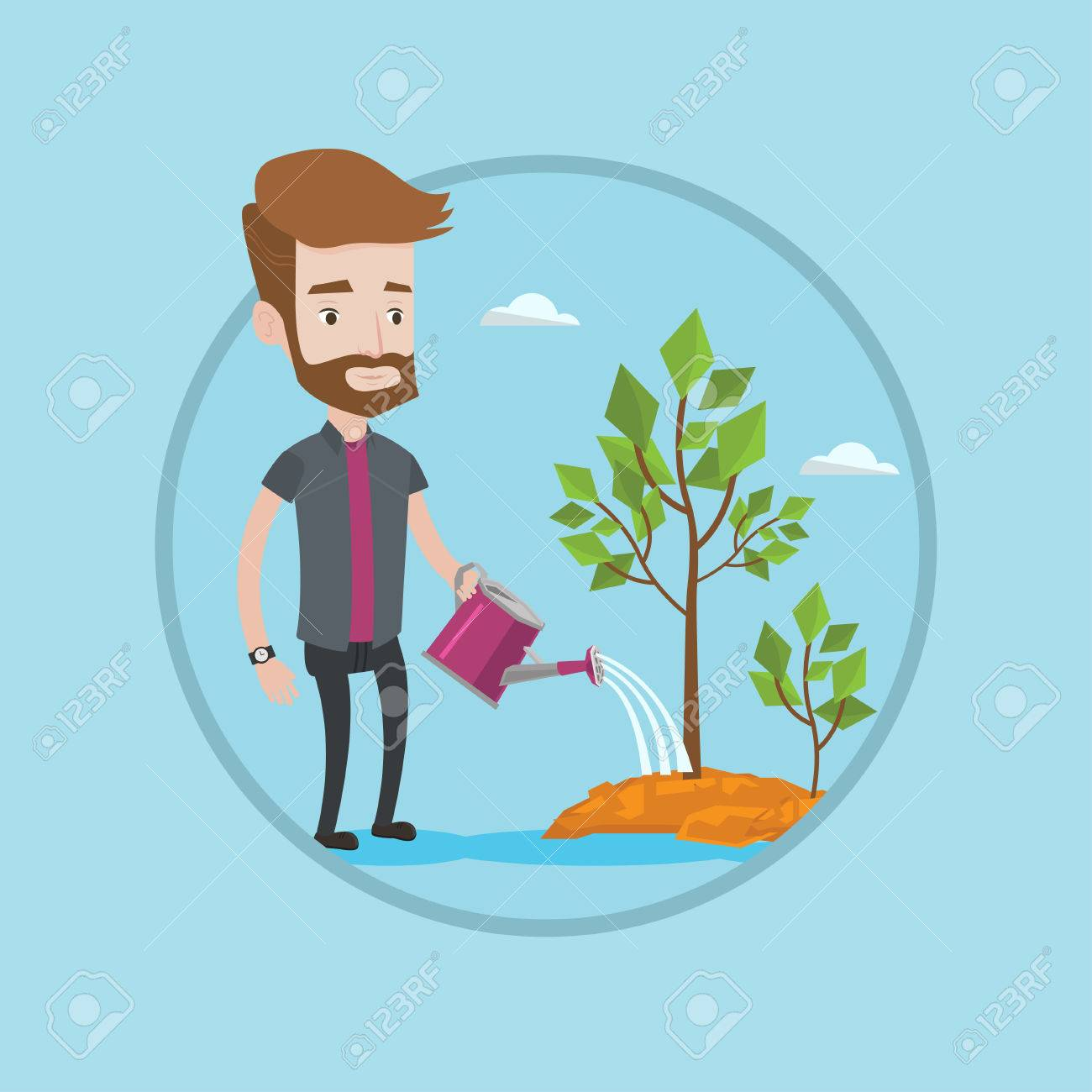 Man Watering Trees Of Three Sizes Young Businessman Watering Royalty Free Cliparts Vectors And Stock Illustration Image 67168732