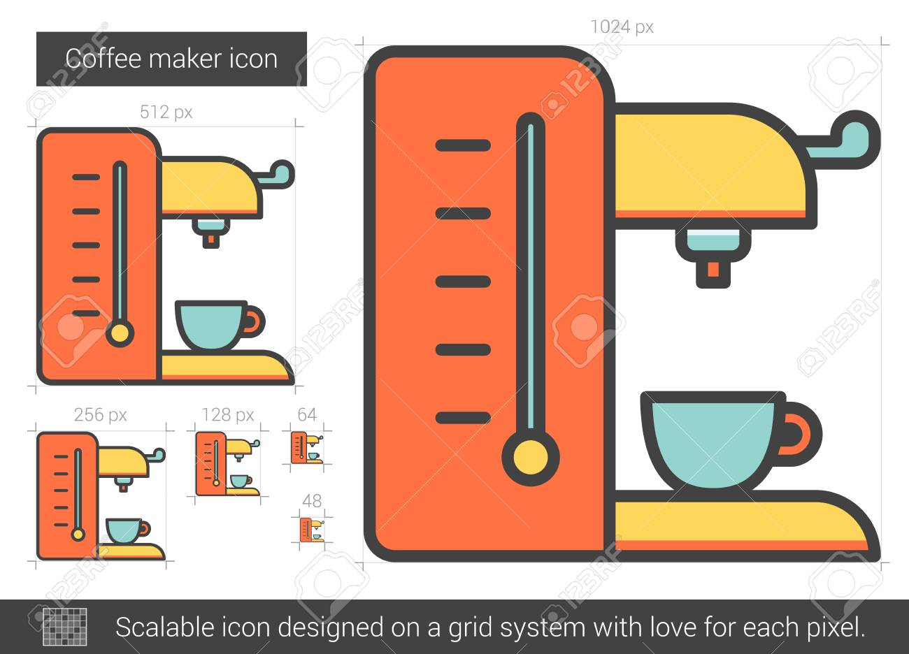 Coffee maker vector line icon isolated on white background  Coffee
