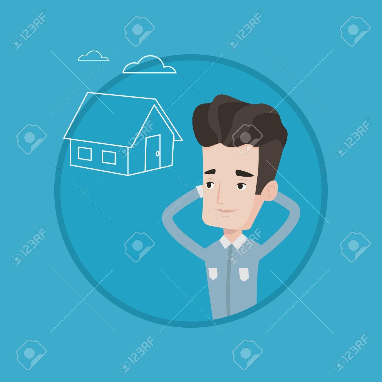 Kaukasischen Mann In Einem Neuen Haus über Zukünftige Leben Zu ...