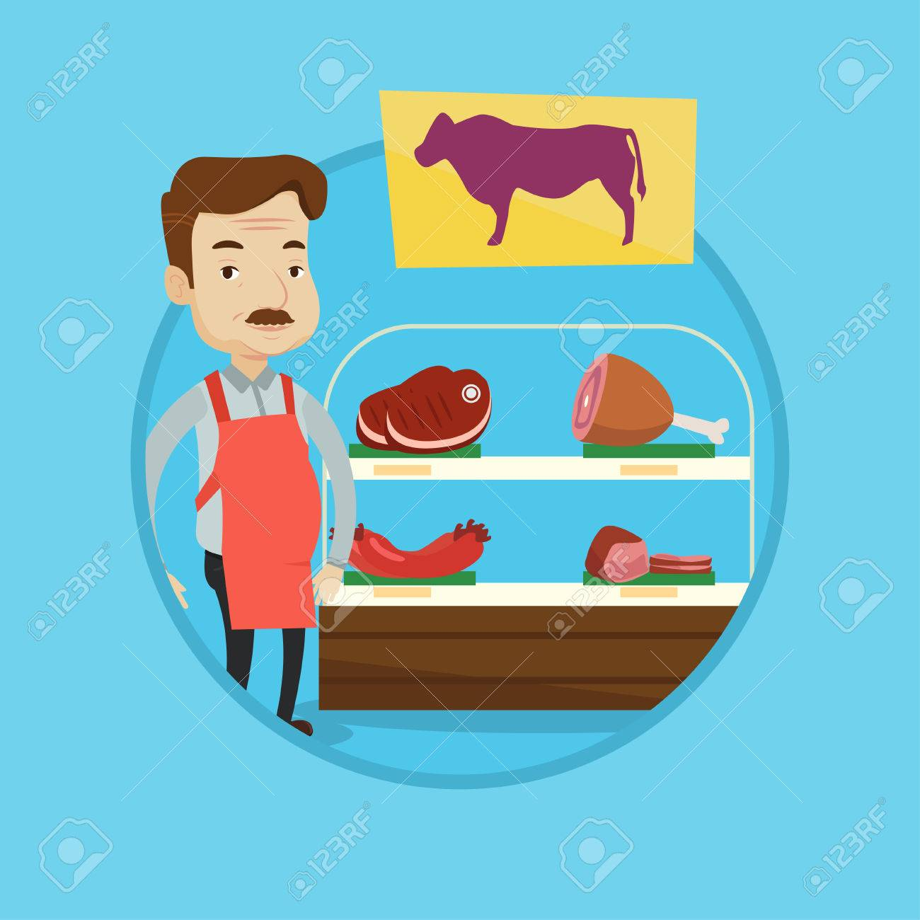 Butcher Offering Meat At Display In Butchery Butcher At Work