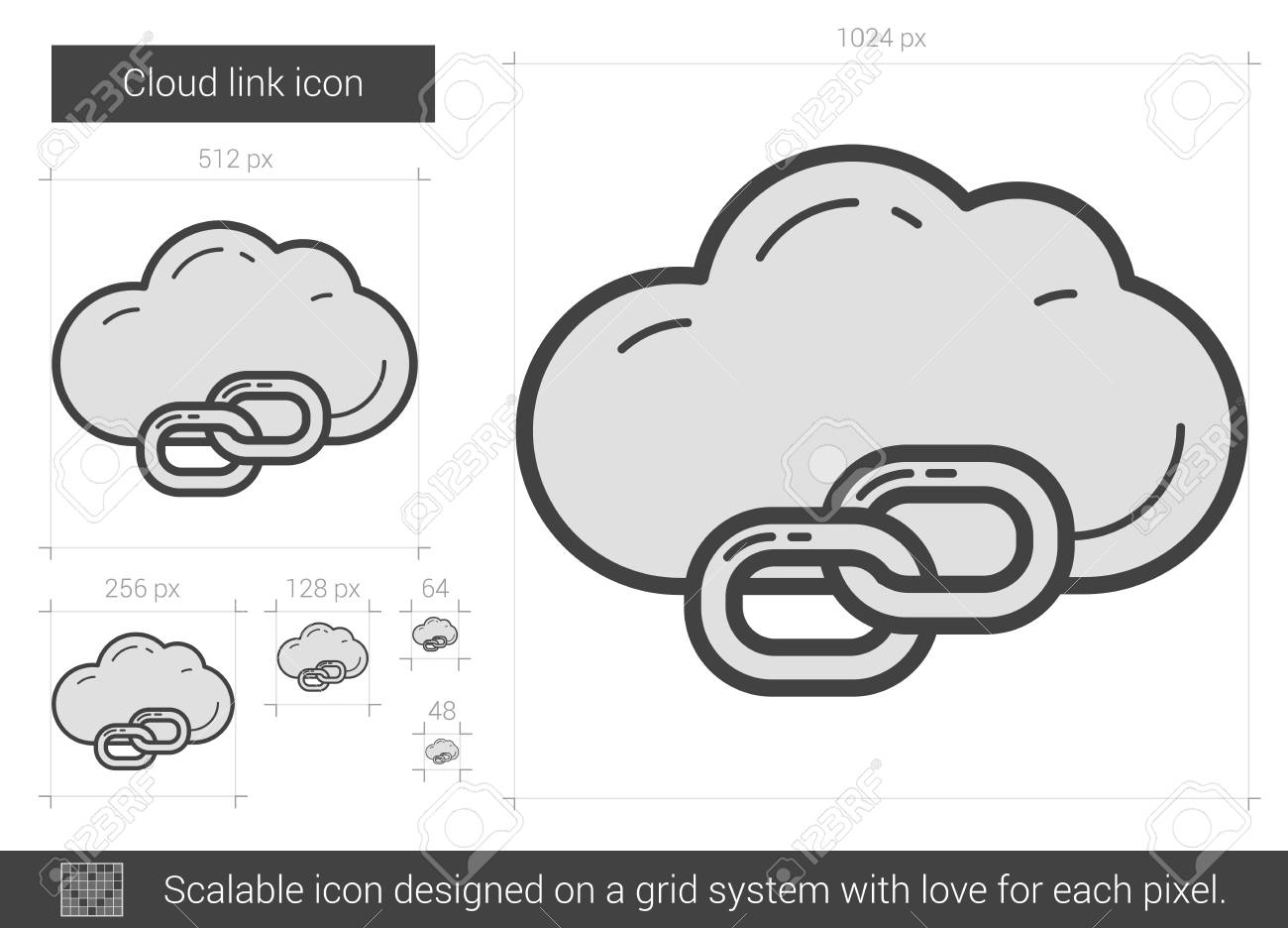 Cloud link vector line icon isolated on white background  Cloud