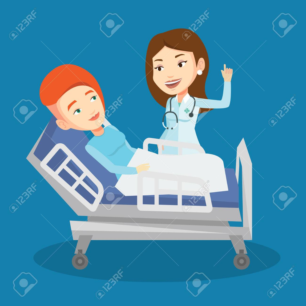 Caucasian female doctor visiting patient. Doctor pointing finger up during visiting of patient. Woman lying in hospital bed while doctor visits her. Vector flat design illustration. Square layout. - 68315931