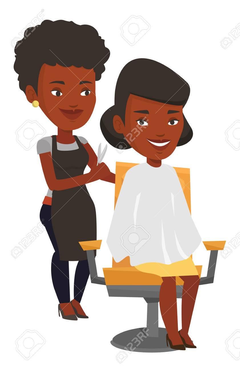 アフリカの美容院ビューティー サロンで若い女性の髪をカット美容師