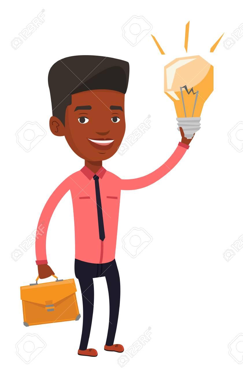 ビジネス アイデア電球指差しブリーフケースを使ってアフリカの実業家ビジネスのアイディアを持っている人成功するビジネス アイデア コンセプトベクトル フラットなデザイン イラストは白い背景で隔離