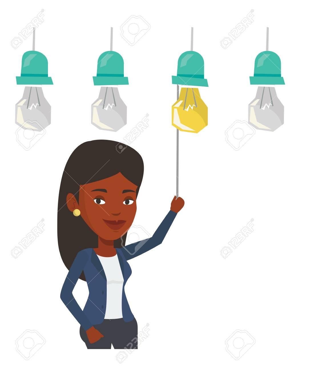 Afro-amerikanische Geschäfts Einschalten Idee Glühbirne Hängt ...