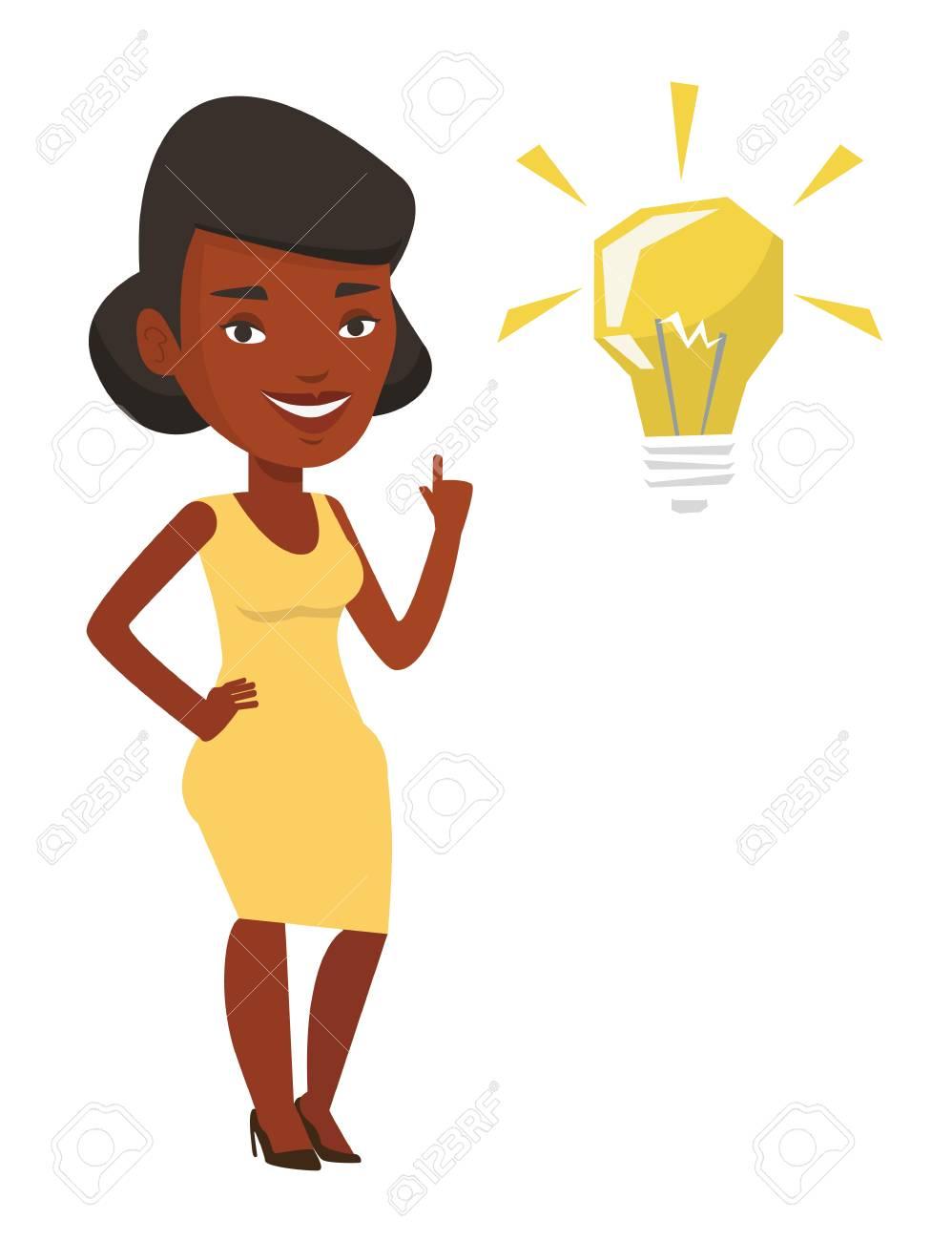 Idee Plat Etudiant.Un Etudiant Afro Americain Pointant Son Doigt Vers L Ampoule De L Idee Etudiant Excite Avec Ampoule Idee Lumineuse Etudiant Ayant Une Bonne Idee