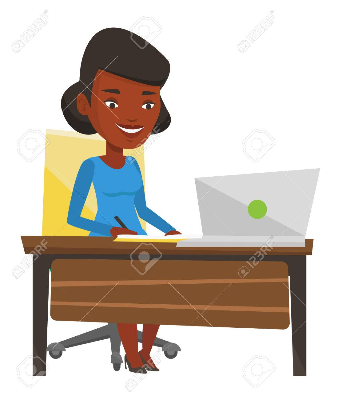 african american woman working on laptop and writing notes student rh 123rf com Laptop Vector Laptop Vector