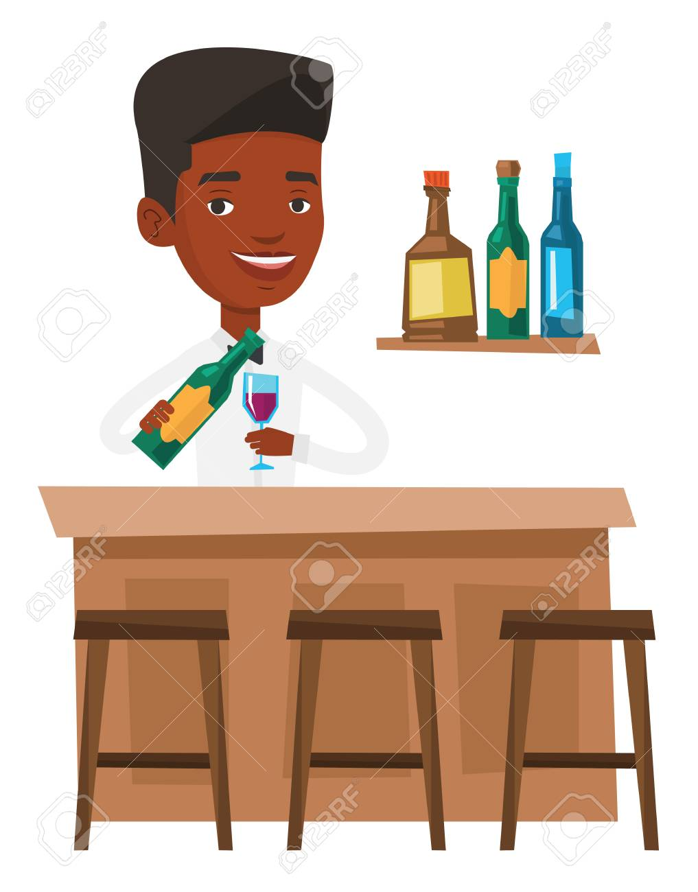 African Barkeeper Mit Einer Flasche Wein Und Ein Glas, Die An Der ...
