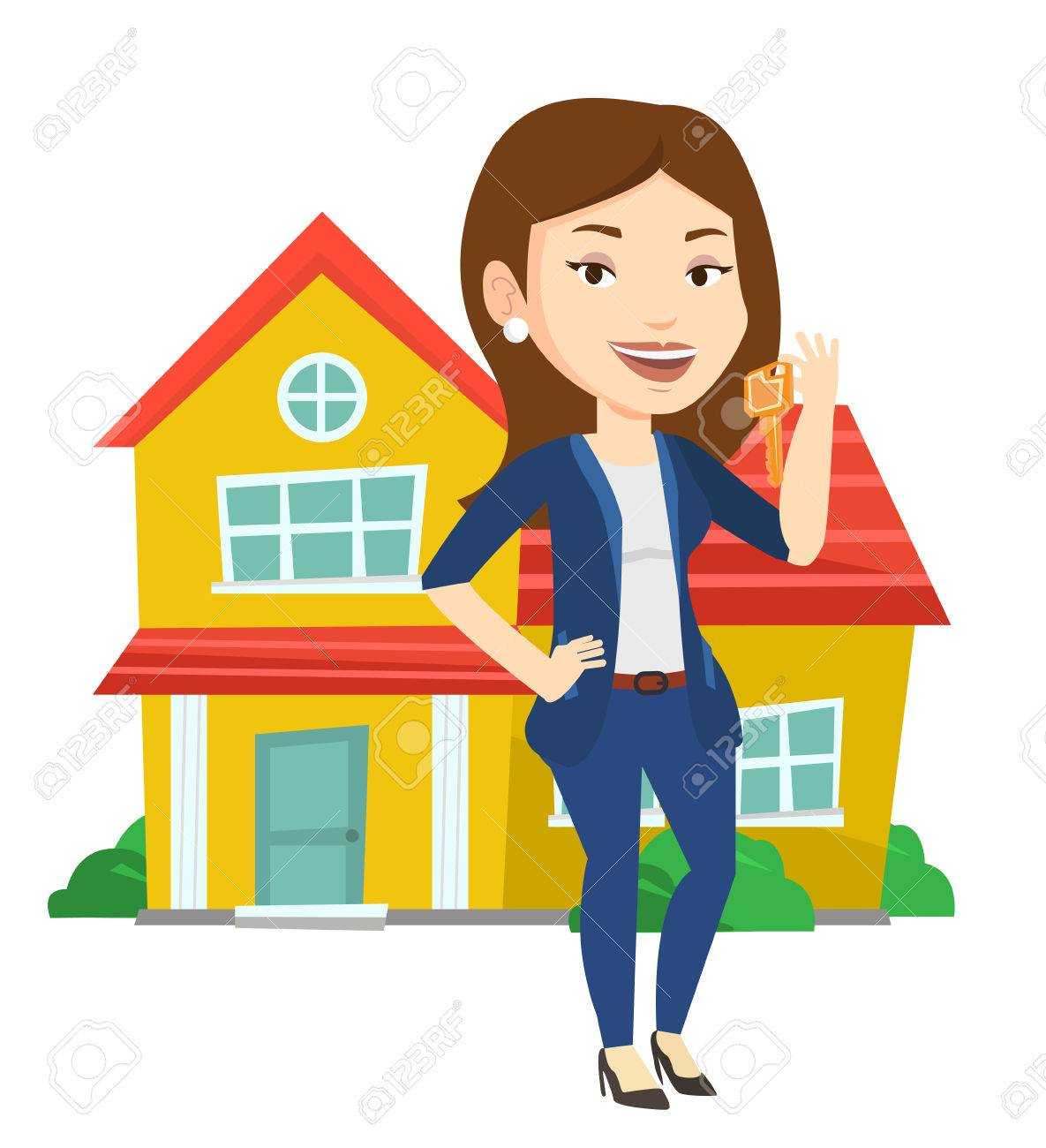 Real Estate Agent With Key Vector Illustration Royalty Free Cliparts Vectors And Stock Illustration Image 70565923