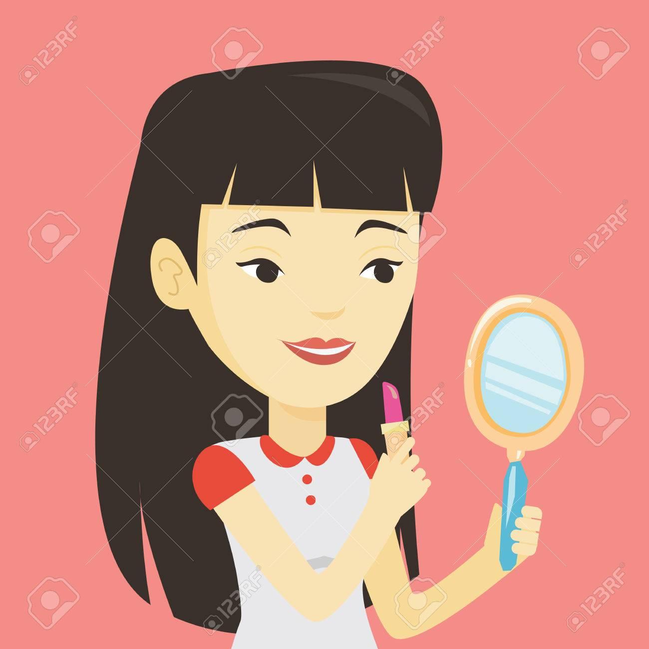 Lächelnde Asiatische Frau Tun, Make-up Und Sucht In Handspiegel ...