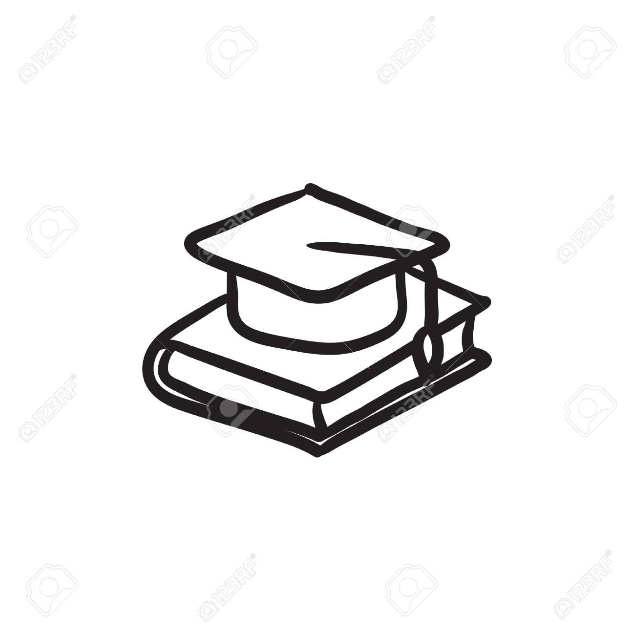 Graduacion De La Tapa Que Pone En Dibujo Icono De Vector Del Libro