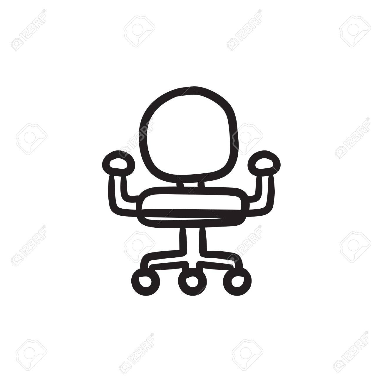Bürostuhl comic  Office chair vector sketch icon isolated on background. Hand..