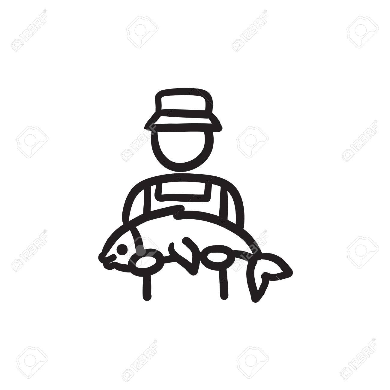 Fisherman With Big Fish Vector Sketch Icon Isolated On Background
