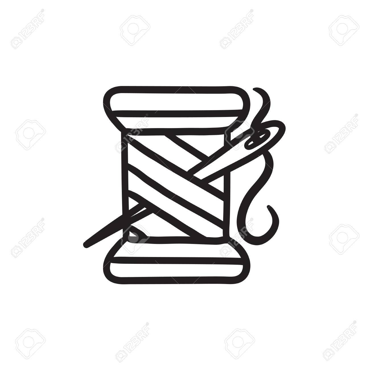 Spool Of Thread And Needle Vector Sketch Icon Isolated On Background ...