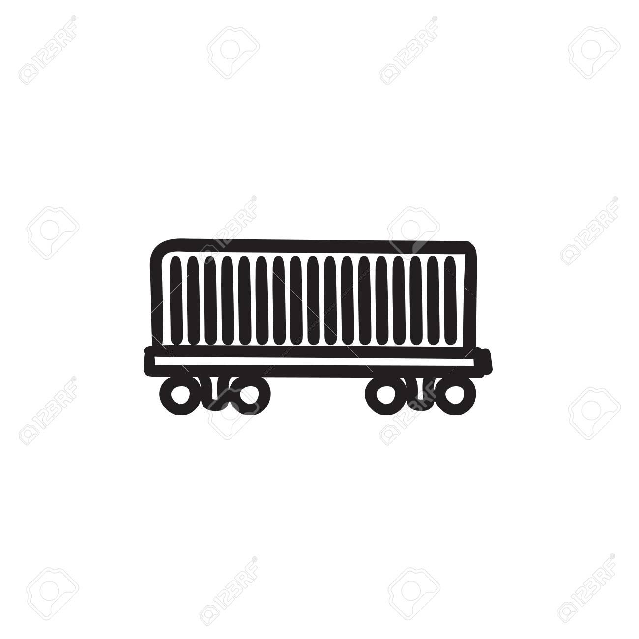 Güterwagen Vektor Skizze Symbol Auf Hintergrund Isoliert ...