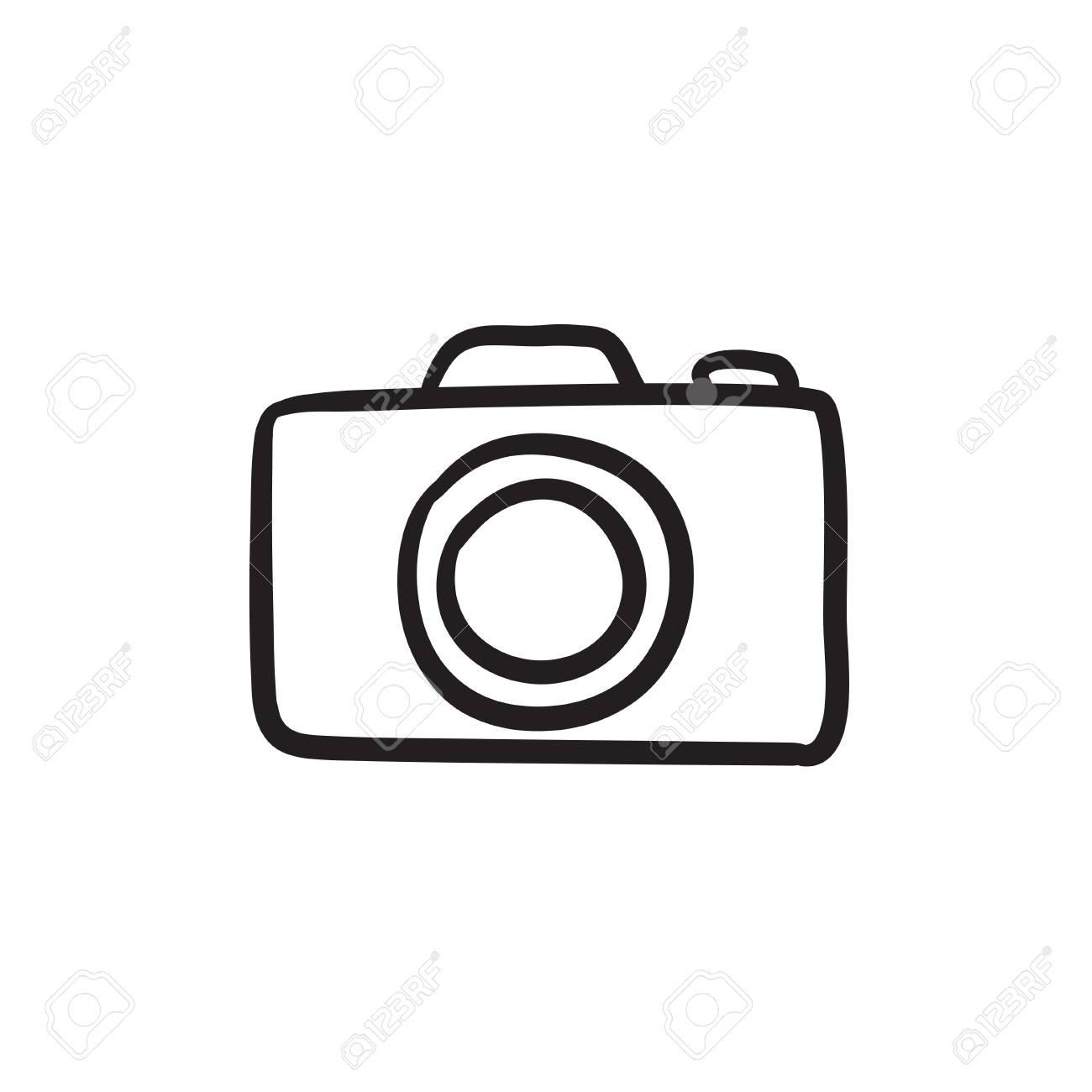 Cámara De Dibujo Del Icono Del Vector Aislado En El Fondo Cámara De Dibujo A Mano Icono Dibujo Del Icono De La Cámara De Libro De Recuerdos Para La Aplicación O