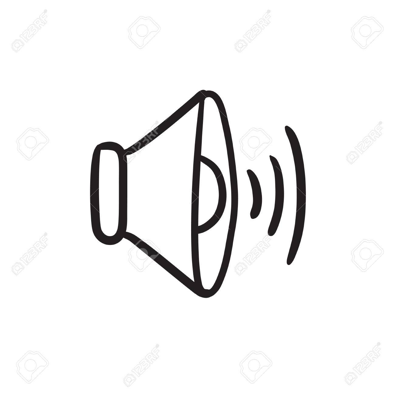 Lautsprecher-Lautstärke Vektor Skizze Symbol Auf Hintergrund ...