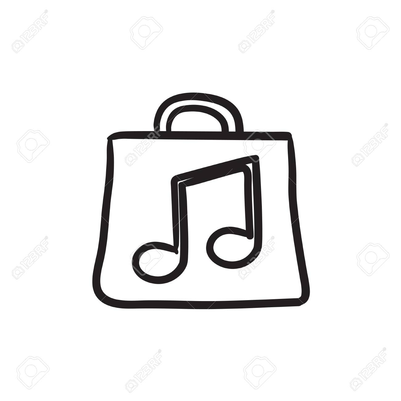 bag with music note vector sketch icon isolated on background rh 123rf com