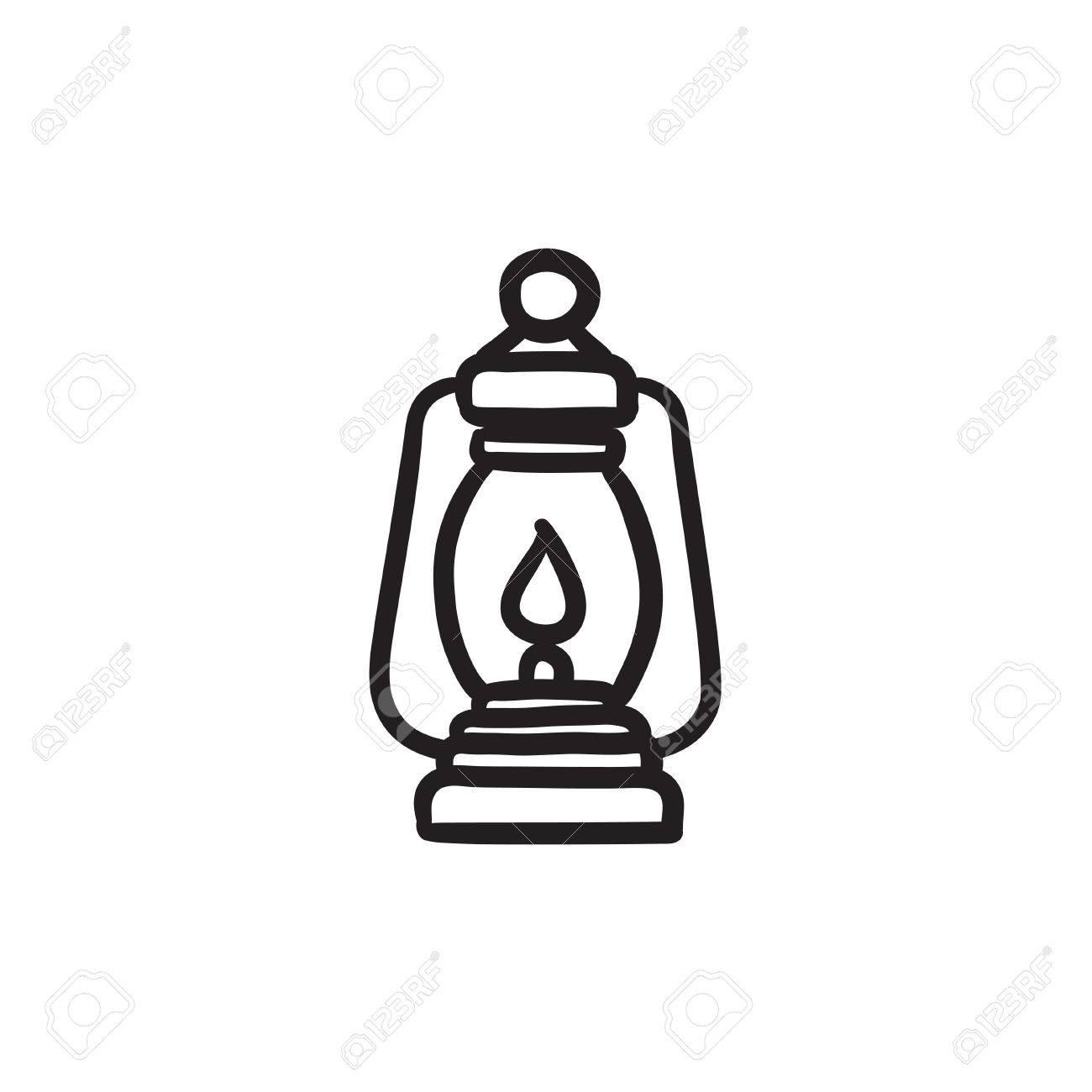 Camping Lantern Sketch Icon Stock Vector