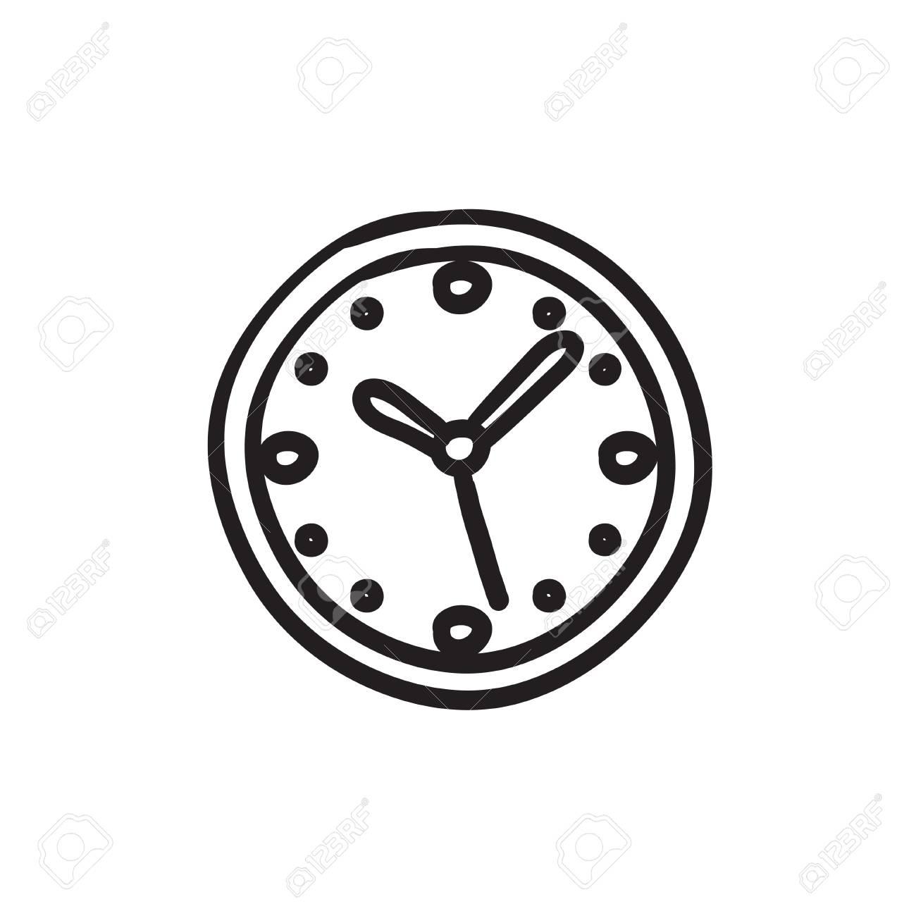 2b6a803cb6d Relógio de parede do ícone do esboço do vetor isolado no fundo jpg  1300x1300 Relogio desenho