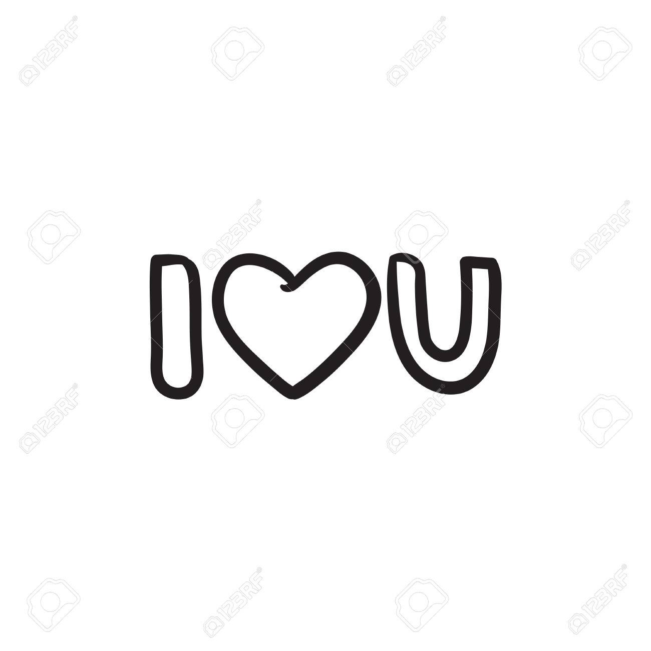 Abbreviation i love you sketch icon stock vector 72427527