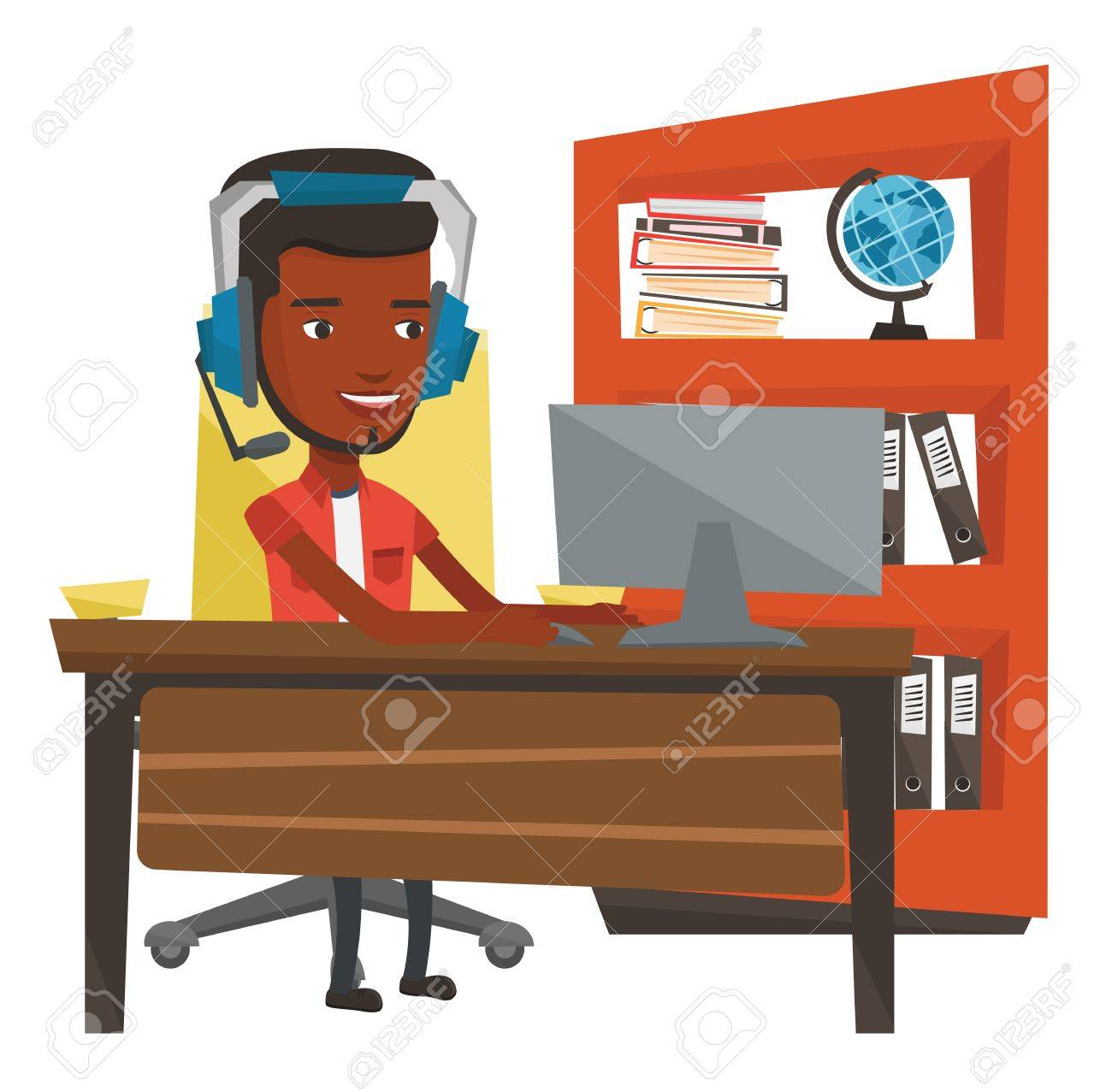 african american man using computer for playing games cheerful rh 123rf com