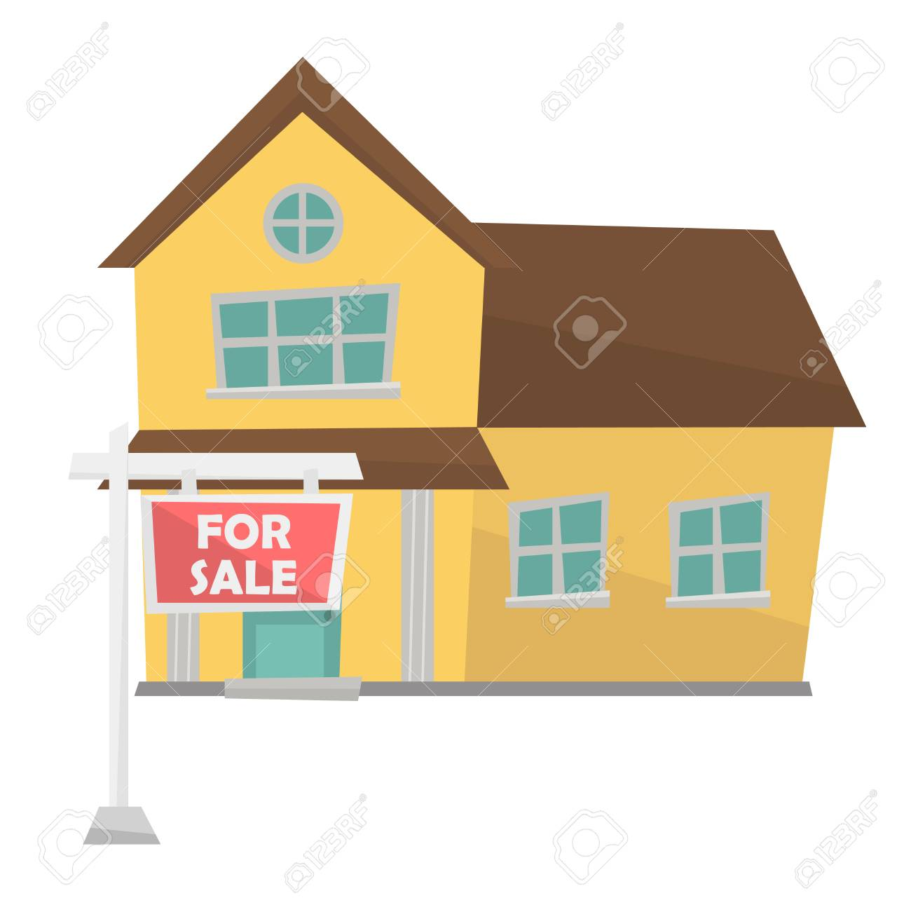 Moderne Maison Avec Affiche De Vente Immobilier. Main Dessinée Caricature HQ-65