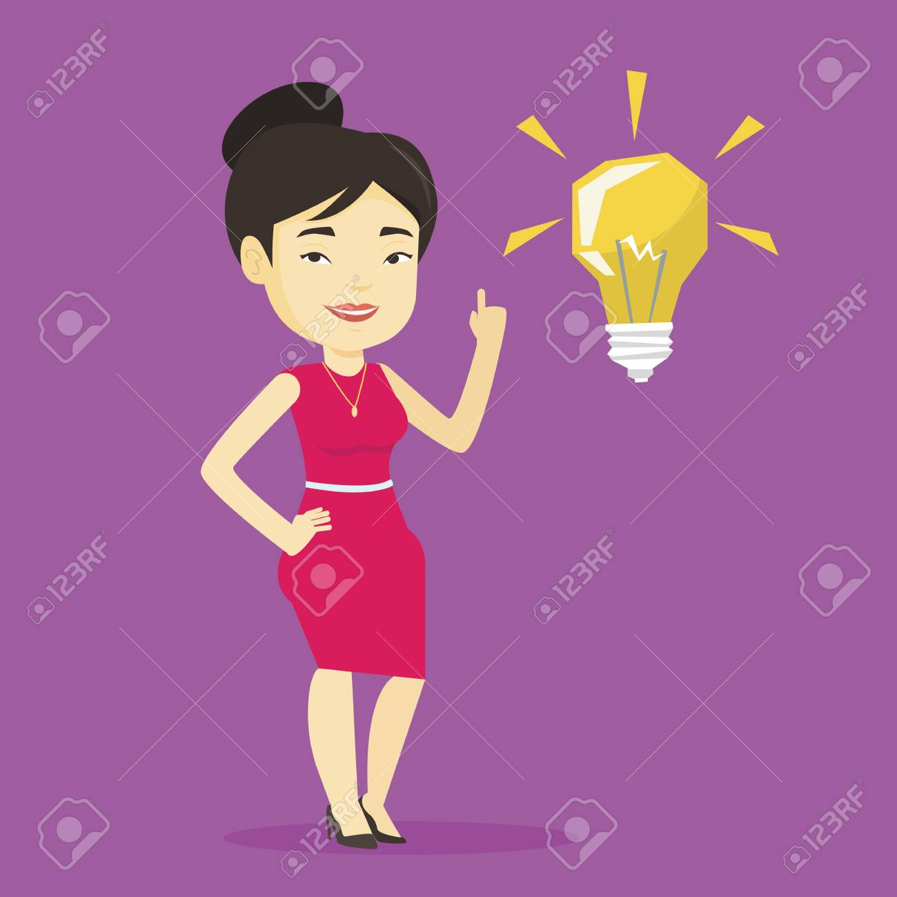 Idee Plat Etudiant.Tudiante Asiatique Pointant Son Doigt Vers Le Haut Sur L Ampoule Idee Jeune Etudiant Excite Avec Ampoule Idee Lumineuse Smart Etudiant Souriant