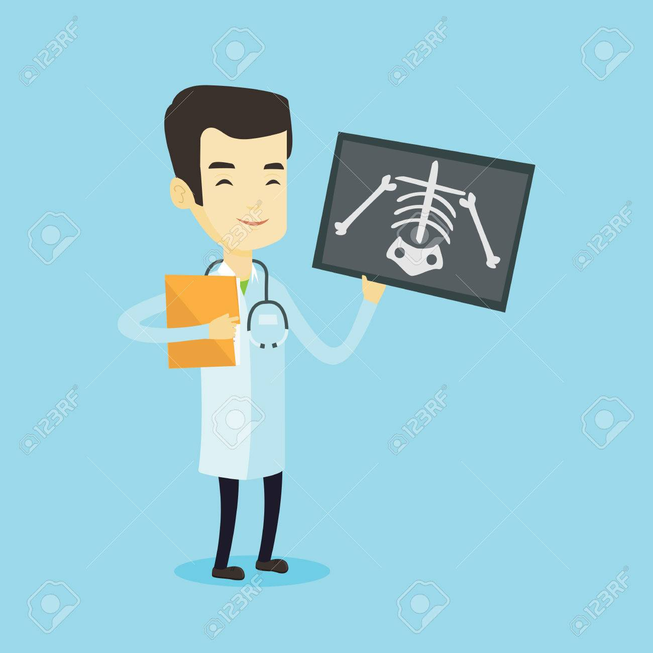 Asian doctor examining a radiograph. Young smiling doctor in medical gown looking at a chest radiograph. Doctor observing a skeleton radiograph. Vector flat design illustration. Square layout. - 74078180