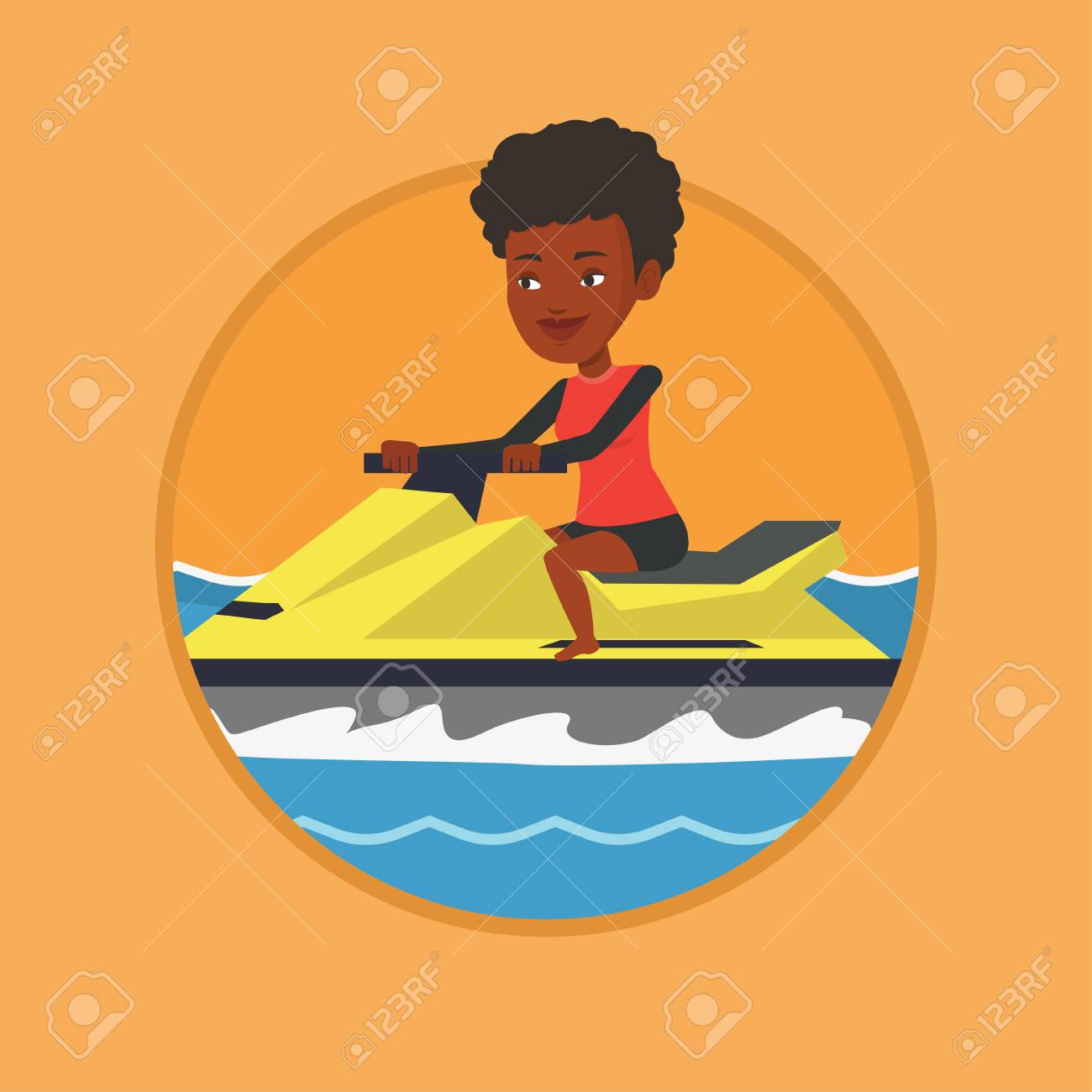 African woman training on jet ski in the sea