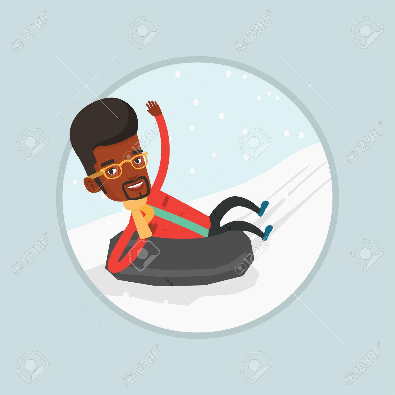 Vector Young African Man Having Fun While Sledding On Snow Rubber Tube Man Riding On Snow Rubber Tube