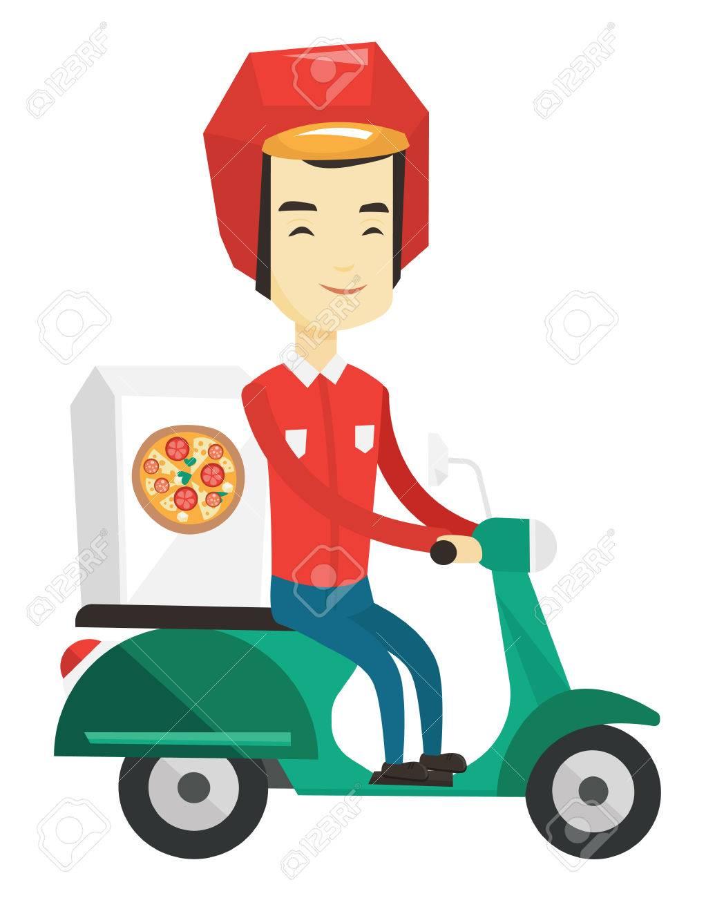 Joven, Asiático, Hombre, Entregar, Pizza, Scooter. Courier ...