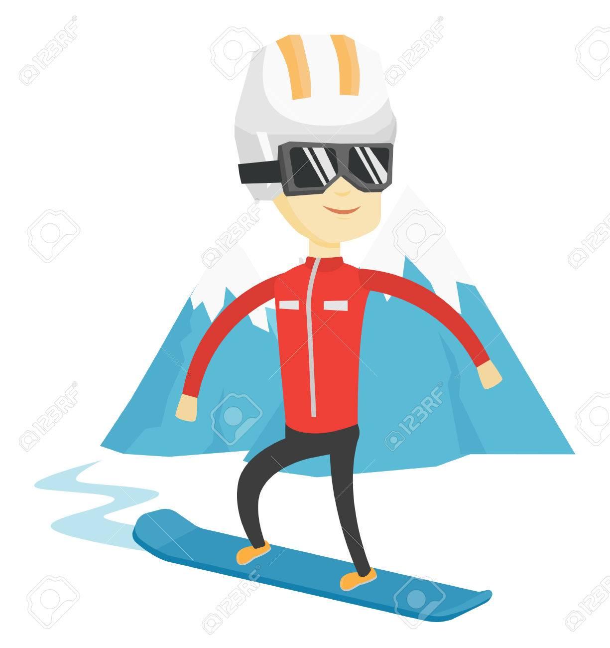 アジア男雪の背景にスノーボード雪山山のゲレンデのスノーボーダー