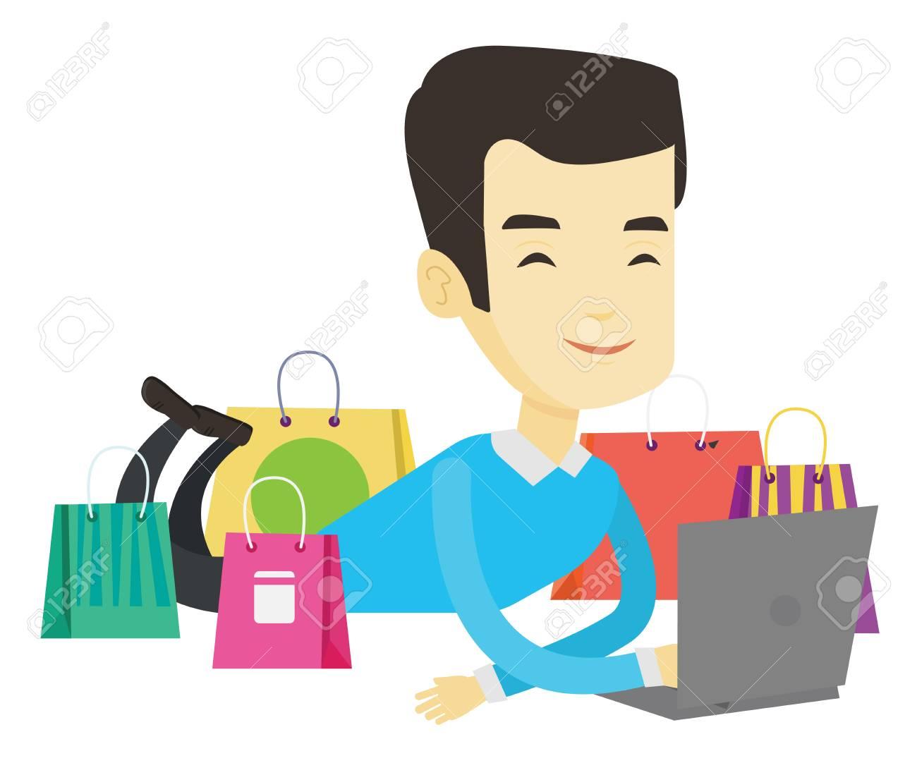 b8b48f8db47e3 Homme Asiatique En Utilisant Un Ordinateur Portable Pour Faire Du Shopping  En Ligne. Homme Couché Avec Ordinateur Portable Et Faire Des Achats En Ligne .