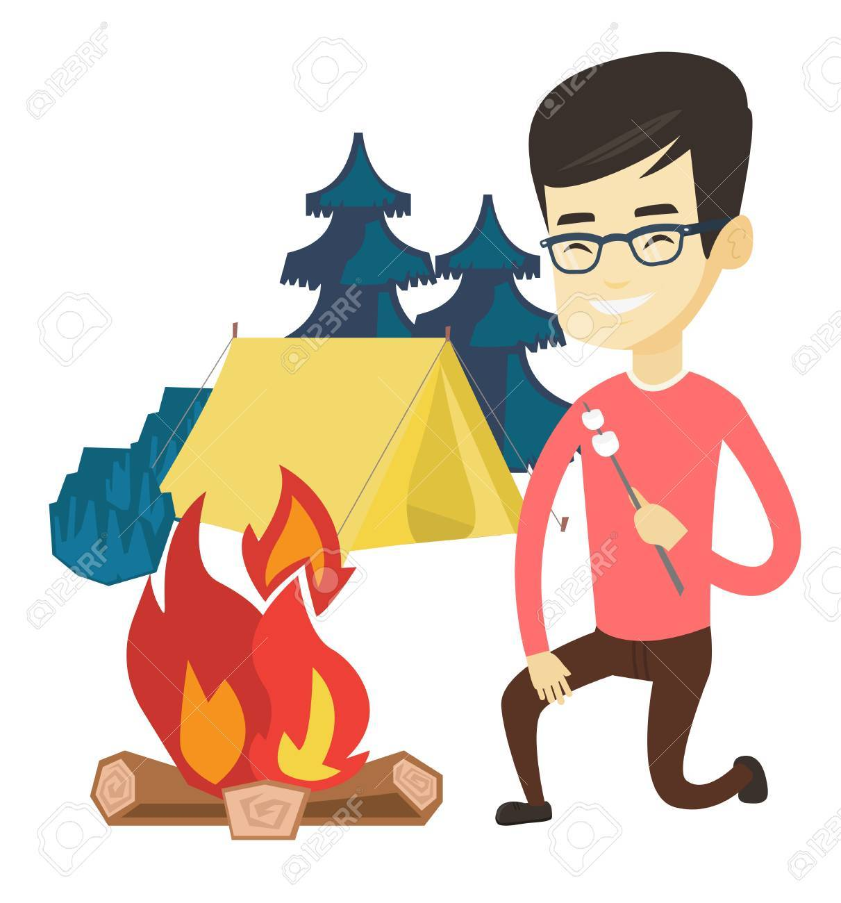 Asian Man Sitting Near Campfire And Roasting Marshmallow Over Tourist Relaxing On