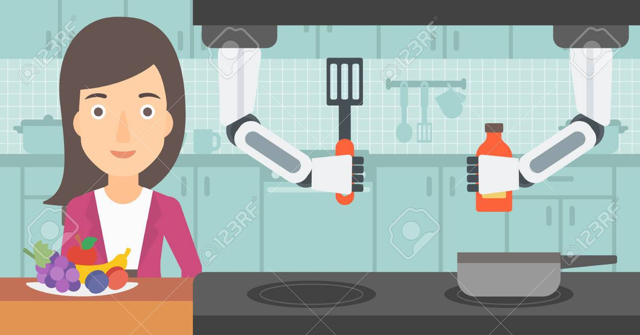 Domestic personal robot helps to owner at kitchen