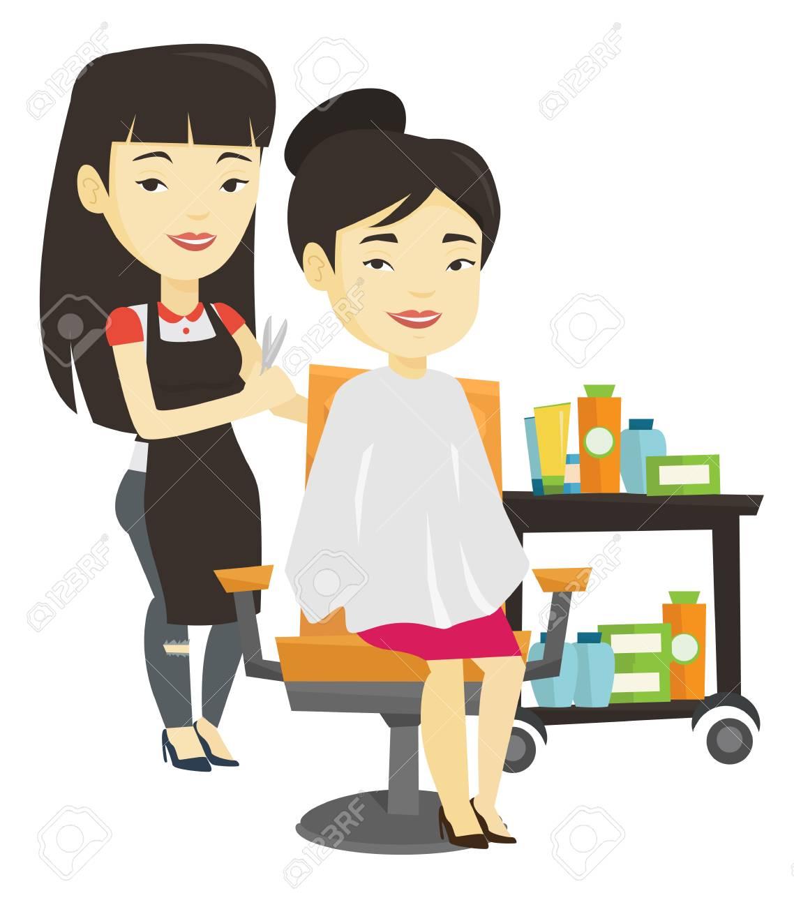 アジア美容室美容院の若い女性の髪をカット美容室美容院のハサミで