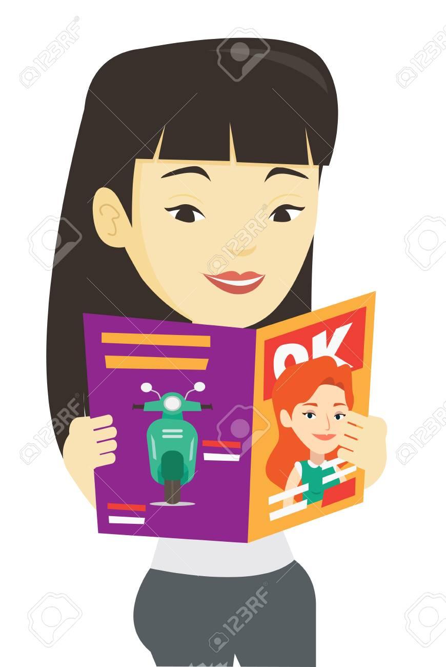 女性の読書雑誌ベクトル イラスト。 ロイヤリティフリークリップアート
