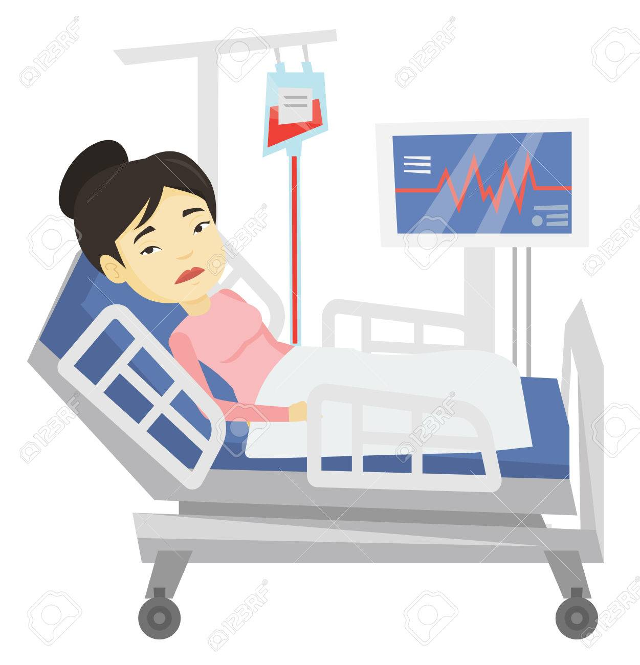 Superieur Vector   Woman Lying In Hospital Bed Vector Illustration.