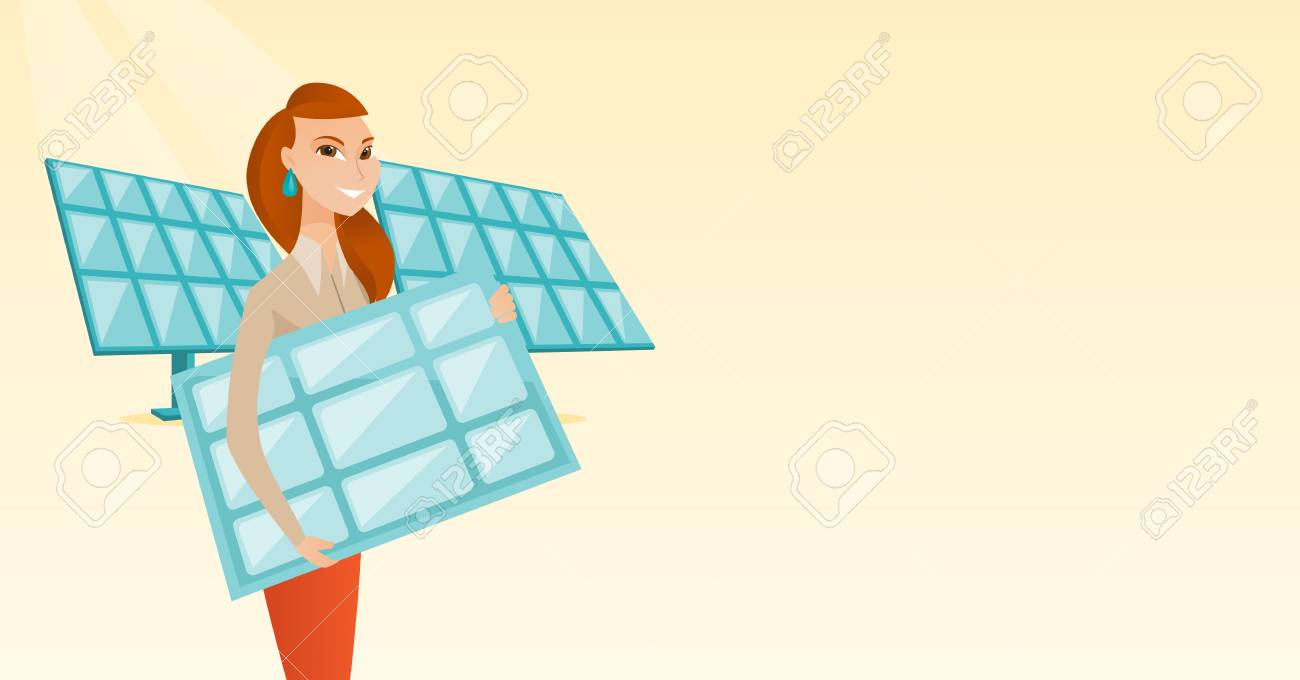 Caucasian Worker Of Solar Power Plant Holding Panel In Hands Layout Design Woman With