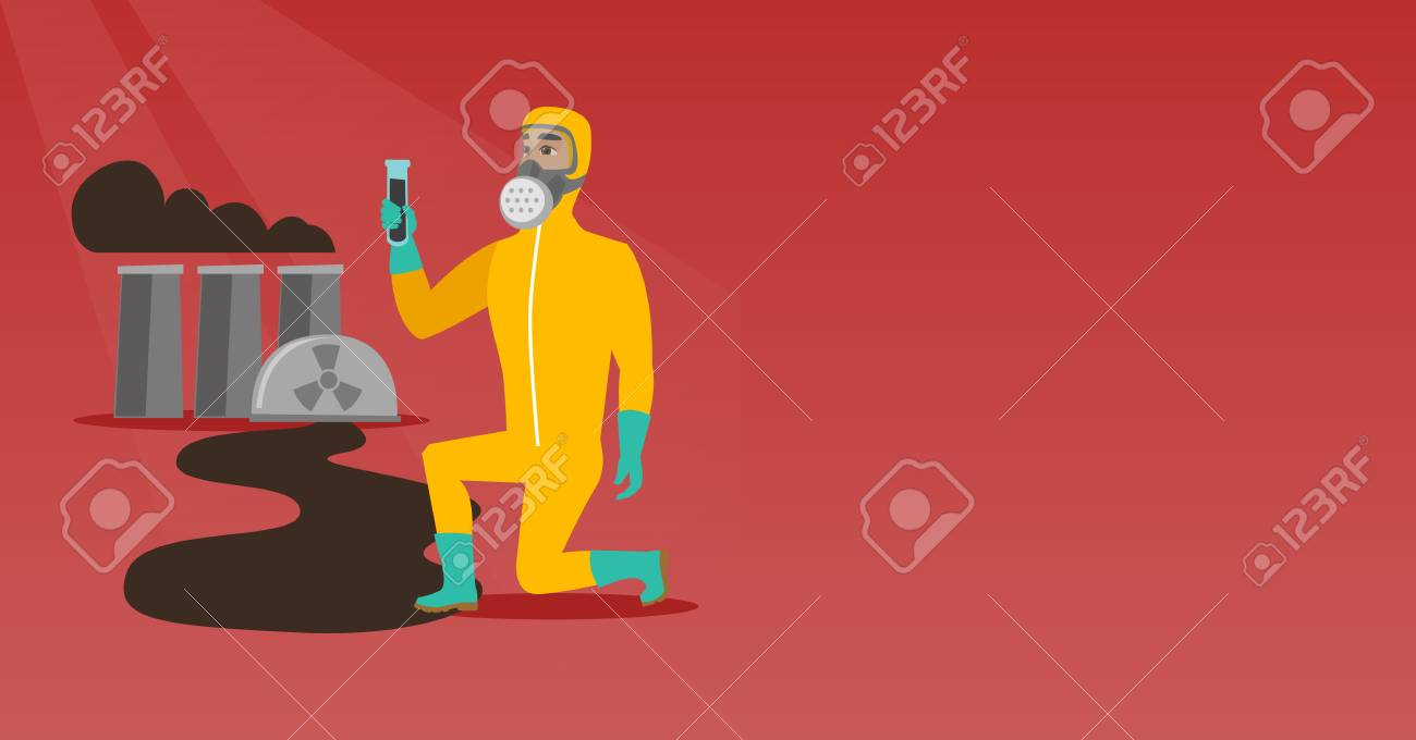 Young Caucasian Scientist In Gas Mask And Radiation Protective Suit Nuclear Power Plant Layout Design Holding A Test Tube With Black Liquid On The Background Of Vector Flat Illustration Horizontal
