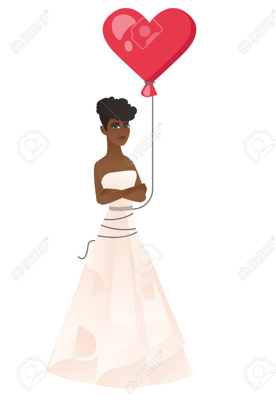 Afrikanische Ernste Braut Mit Einem Herz-förmigen Roten Ballon ...