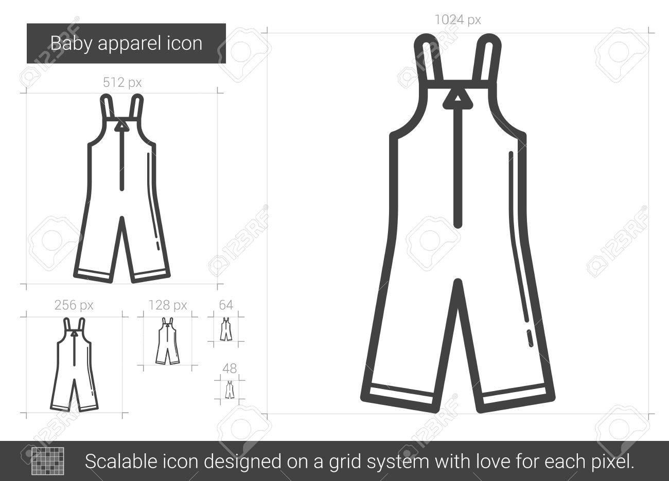 Bebé ropa vector línea icono aislado sobre fondo blanco. Icono de línea de  ropa de 45cecdb65d7b
