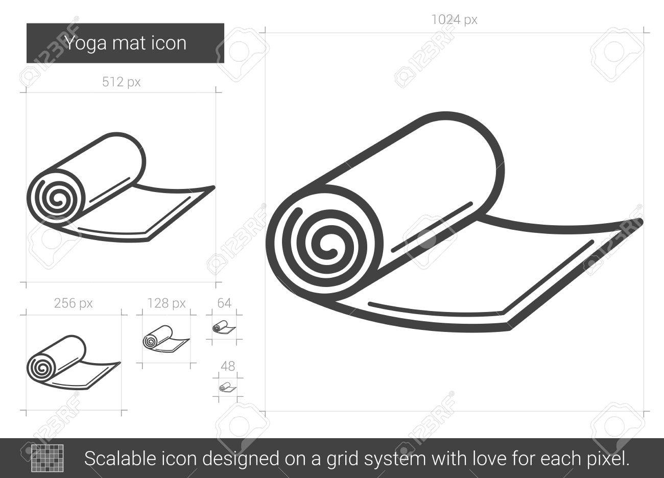 Yoga Mat Vector Line Icon Isolated On White Background Yoga Royalty Free Cliparts Vectors And Stock Illustration Image 79672089